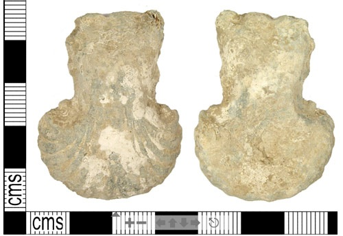 Lead-alloy ampulla dating from the medieval period.