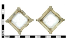 A single piece of a post-medieval composite window, square in shape, dating from the 17th century.