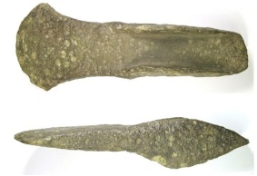 Cast cu-alloy short flanged axe dating from the Middle Bronze, ca. 1500-1150BC.