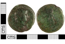Early Roman dupondius of Hadrian dating from c. AD119-21