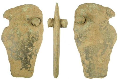 Cast cu-alloy fragment of a dirk or rapier dating from the early Late Bronze Age, i.e. c. 1200-1100BC.
