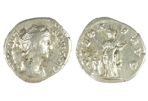 Early Roman silver denarius of Faustina I (Faustine the Elder) dating from c. AD141+ RIC : 3 (Antoninus) 194a of AD141+ Denomination.