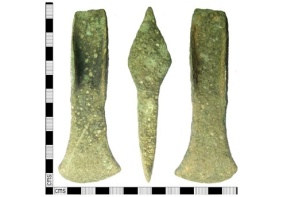 Cast cu-alloy flanged axe dating from the Middle Bronze Age, i.e. c. 1500-1300BC.